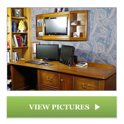 Custom Mahogany Desk and Top Cabinet Built by Chagrin Valley Custom Furniture of Cleveland, Ohio