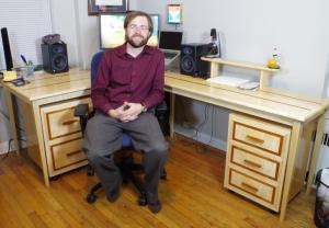 Maple Desk with Mahogany Inlay
