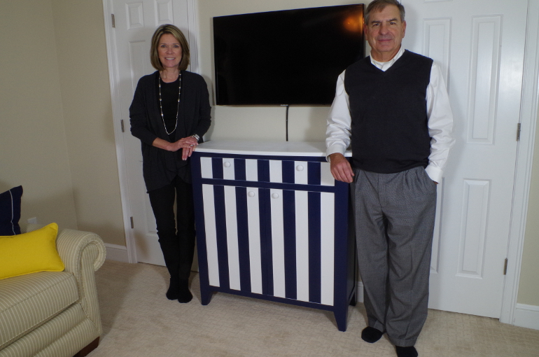 Blue And White Entertainment Center
