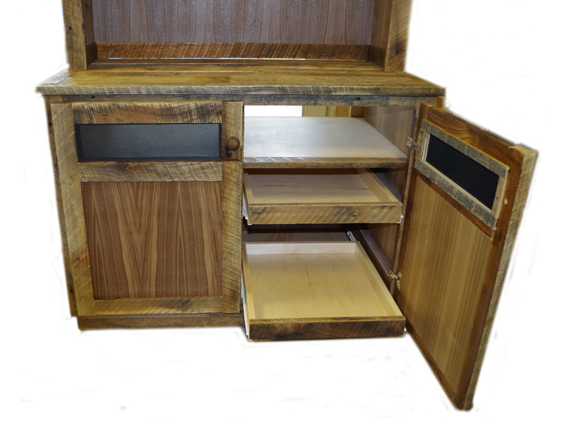 Reclaimed Wood Media Center and Display Cabinets For Sale