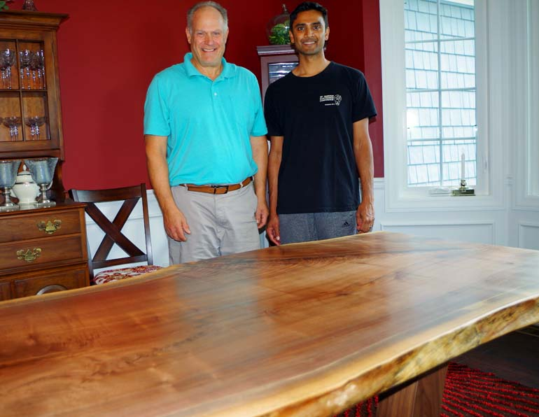 Live Edge Walnut Table with Modern Wood Legs