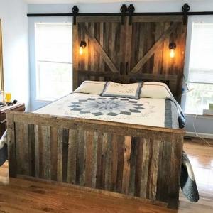 Barn Wood Bed with Barn Door Headboard