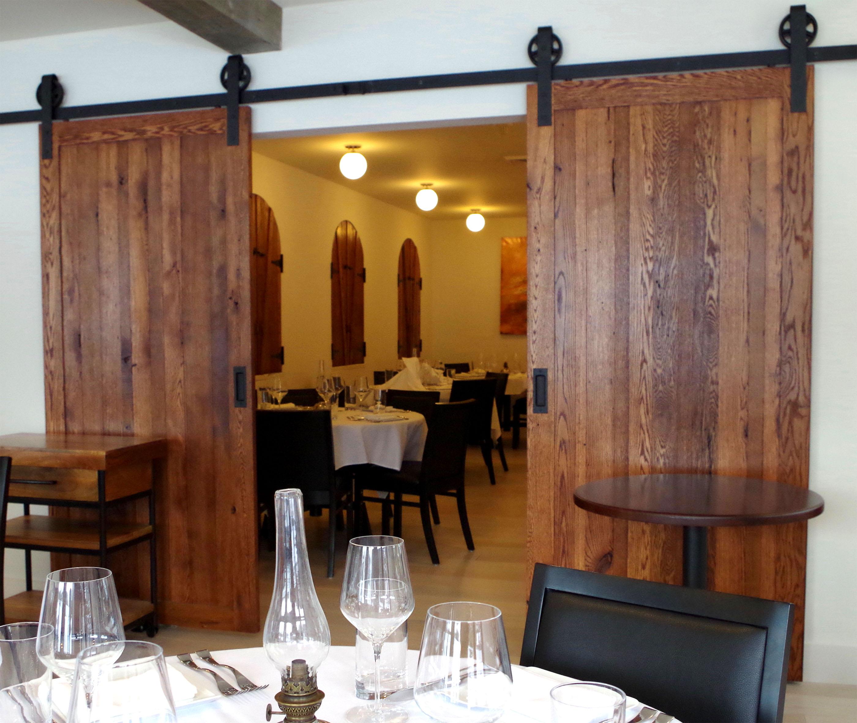 Rustic Barn Wood Sliding Doors for Luca Restaurant