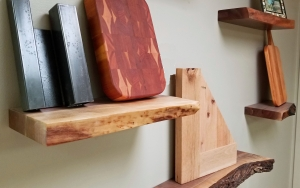 A section of the Live Edge Floating Shelf display in our showroom