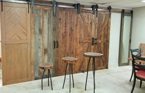 Rustic Barn Doors and Live Edge Side Tables on display in our showroom