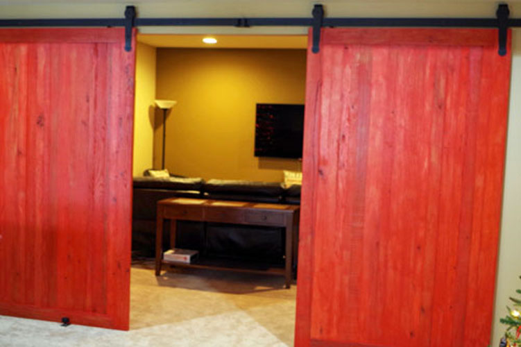 Custom Stained Solid Oak Interior Sliding Barn Doors