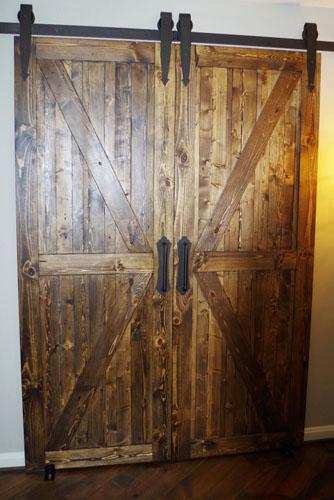 Custom Distressed Solid Pine Interior Barn Doors