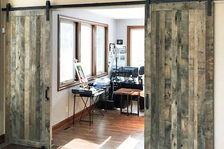 "Custom Oak Barn Wood Sliding Barn Doors ""Living Room Divider"
