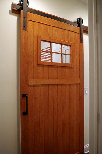 Custom Antique Glass Cherry Sliding Barn Door