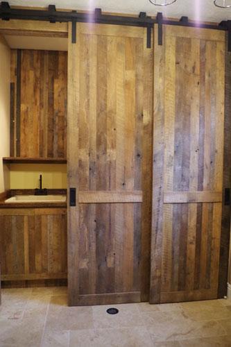 Custom Bypass Sliding Barn Doors - Laundry Room Divider