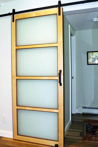 Custom Modern Interior Frosted Glass Barn Door