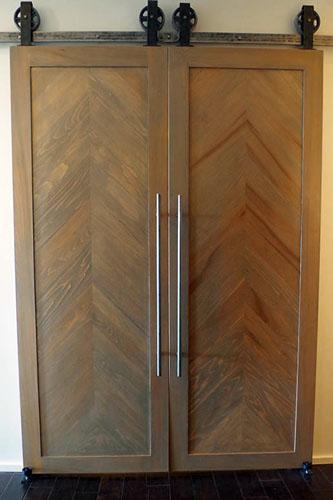 Custom Chevron Modern Interior Barn Doors