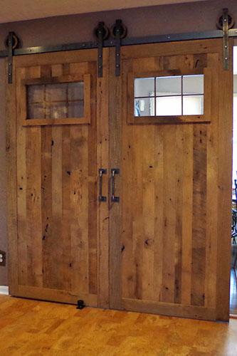 Custom Rustic Natural Barn Doors with Windows