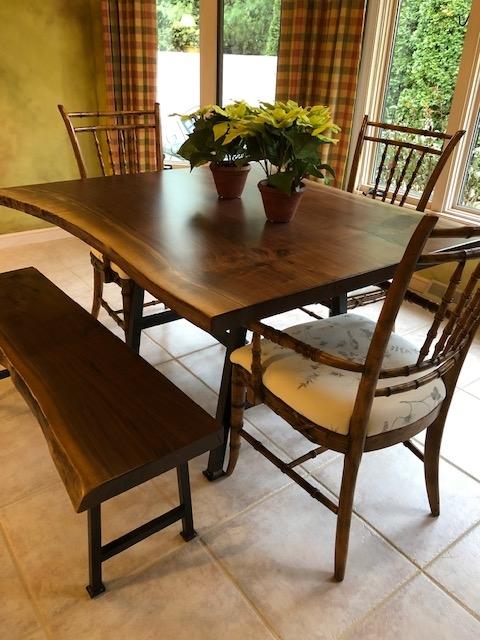 Live Edge Walnut Bench & Table