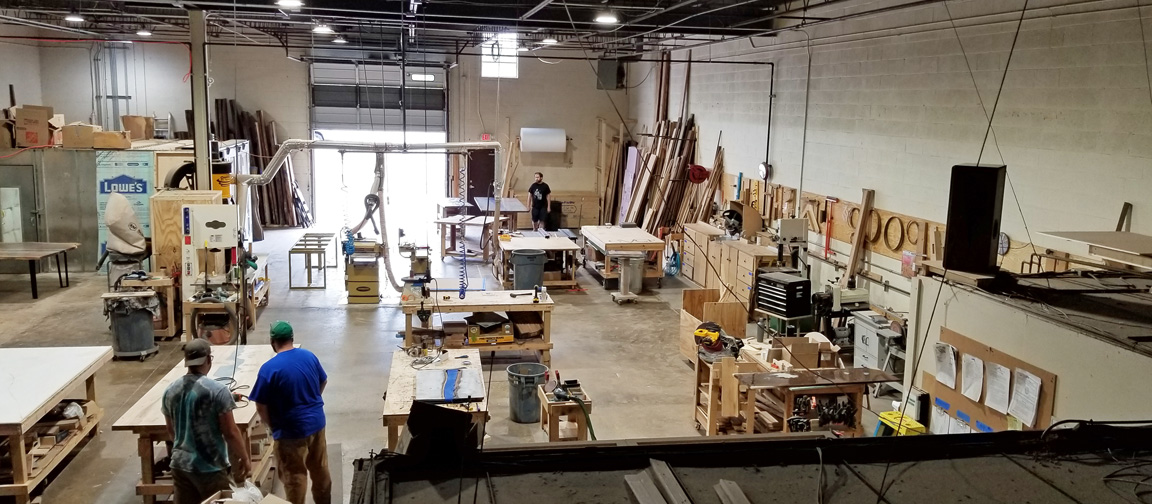 U.S. Custom Furniture Manufacturing Facility [Where CVCF Custom Furniture Builders, Custom Furniture Designers And Custom Furniture Builders Make Handmade Dining Tables, Live Edge Desks, Oversized Beds And Epoxy Resin River Tables