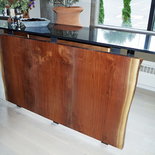 Custom Live Edge Reception Station for Luca West in Westlake, OH