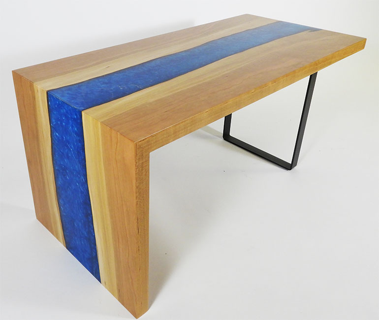 Live Edge Blue Epoxy Resin River Waterfall Coffee Tables For Sale Locally Near You (U.S. Only) And Online By Chagrin Valley Custom Furniture