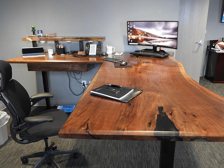 Ergonomic Live Edge Walnut Desk