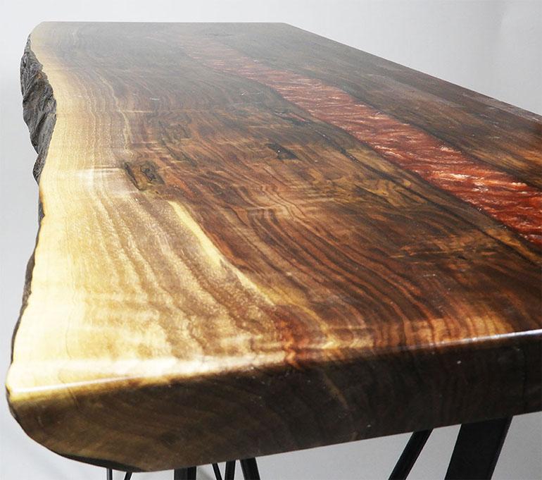 "Live Edge Walnut ""Lava"" Epoxy Resin River Coffee Table Custom Built By CVCF"
