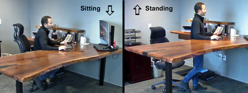 Custom Built Ergonomic Adjustable Height Sit/Stand Desks For Sale Locally Near You (IU.S. Only) And Online By CVCF [Epoxy Resin Live Edge Desktops]