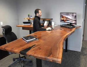 Custom Made Black Epoxy Resin Black Walnut Live Edge Adjustable Height Sit Stand Desk For Home Office Sold Locally