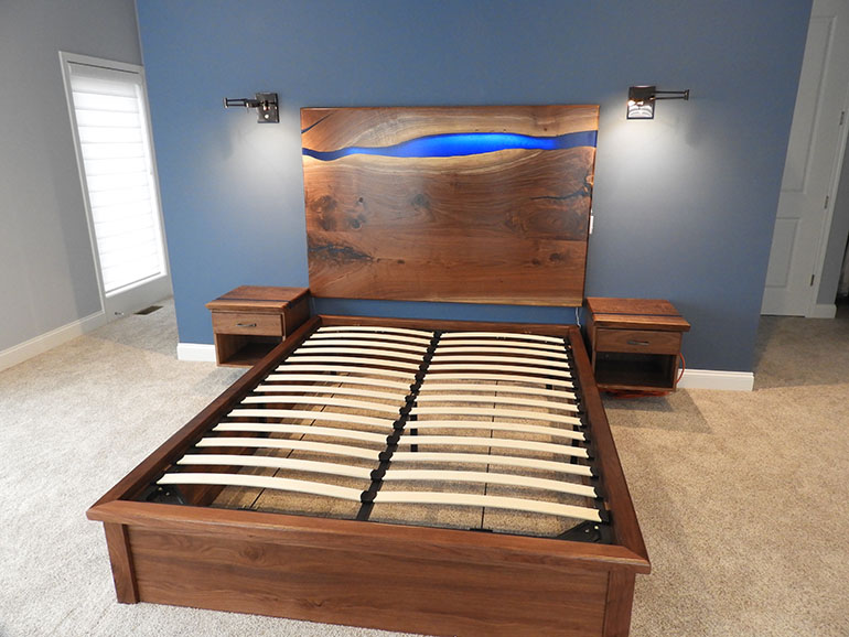Custom Made Walnut Wood Platform Bed With Blue Epoxy River Headboard With Backlit LED Lights Sold Locally $10,000+