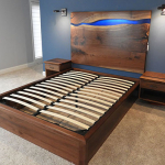 Custom Built Rustic And Modern Bed With Epoxy River Live Edge Walnut Headboard Handmade By CVCF Furniture Makers
