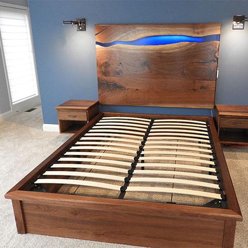 Live Edge Walnut Bedroom Set With Epoxy Resin