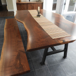 Live Edge Walnut Table And Bench Handmade By CVCF For The Taylor Family