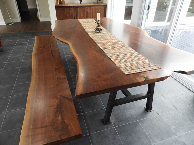 Live Edge Walnut Table & Bench For The Taylors