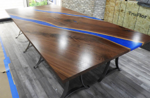 Live Edge Walnut Quad Conference Tables