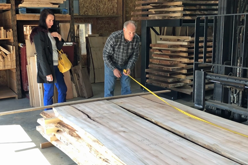 Pictured Here Is A Customer Choosing A Wood Slab For A Handmade Custom Live Edge Dining Table