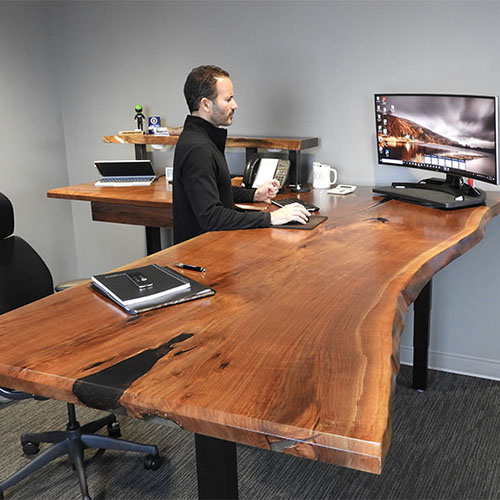 Ergonomic Workstation Designed By A CVCF Customer And Built By CVCF Furniture Makers