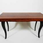 Buy A Made To Order Modern Cherry Coffee Table With Turquoise Epoxy Resin Inlay And Live Edge Underside