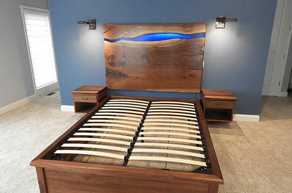 Walnut Live Edge River Headboard, Frame & Bedroom Set