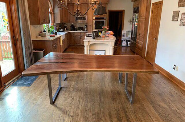 Live Edge Epoxy Resin Table With Bench