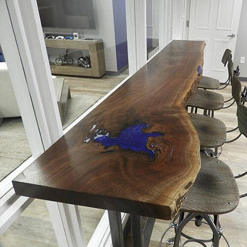 LIve Edge Epoxy Resin Desk & Bartop