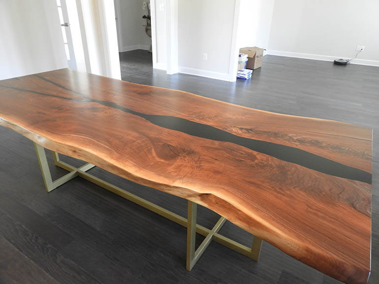 Black Epoxy Resin Walnut Table