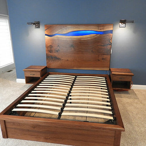 Walnut Live Edge Epoxy Resin River Headboard, Frame & Bedroom Set