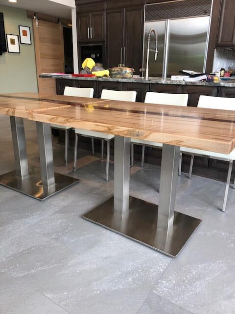 Ambrosia Maple Maroon Epoxy Resin Tables