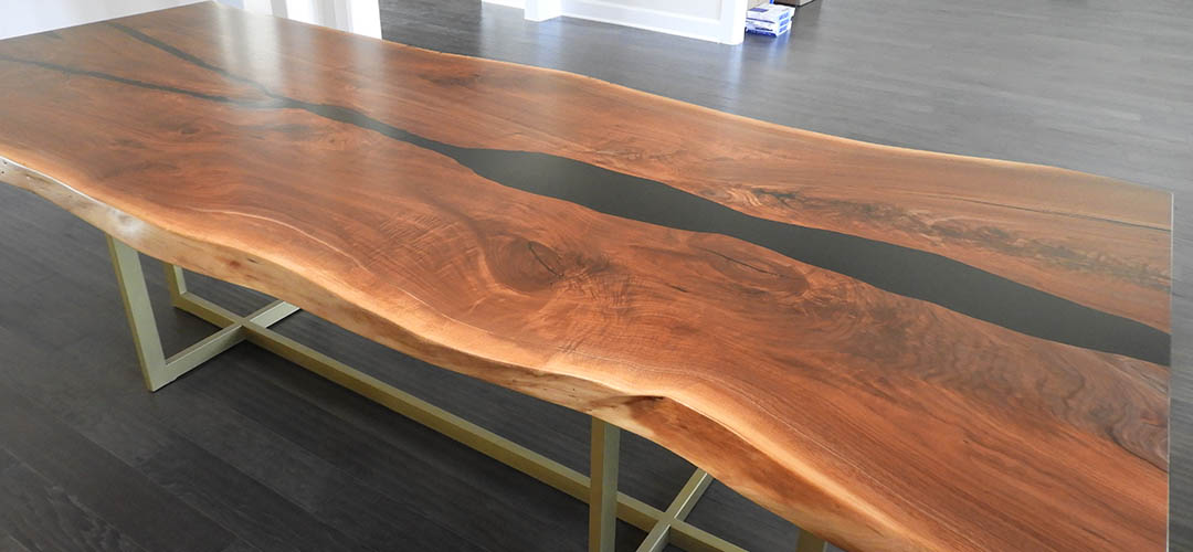 Walnut Live Edge Dining Room Table With Black Epoxy Resin