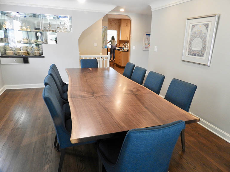 Custom Made Solid Wood Dining Table $2,600+ [Kitchen Table That Seats 10 | Walnut Live Edge Dining Table