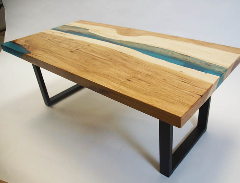 Epoxy Resin River Kitchen Table Co-Designed Online By Customer & CVCF River Table Builders | Custom Made Live Edge (Hickory) Dark Blue Epoxy Resin River Kitchen Table | Sold Online At The CVCF River Table Online Store In 2019 | Custom Epoxy Resin Color And Design