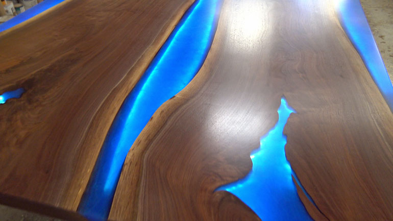 Large High Quality Custom Designed Epoxy Resin River Table $3,000+ [With LED Lights]