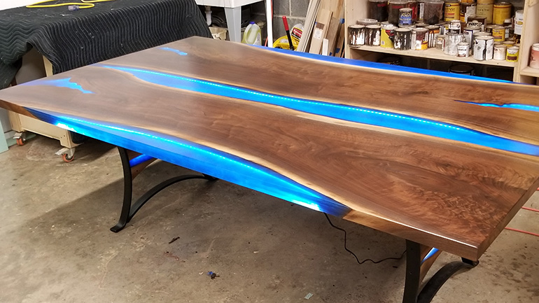 Epoxy Resin River Table For A Celebrity