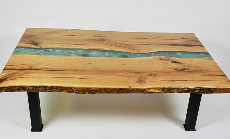 Live Edge Epoxy Resin River Coffee Table With Embedded Seashells For Sale Online At The CVCF River Table Online Store $3,950