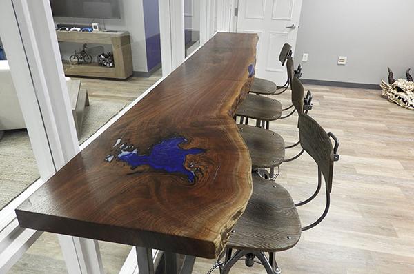 Live Edge Epoxy Resin Walnut Desk And Bartop