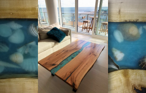 Popular epoxy resin colors for river tables include blue (most popular), black, grey, gold, green, turquoise, pearl, orange and red