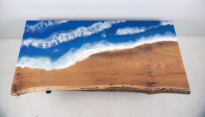 Shop online for epoxy resin moving ocean tables and epoxy resin art tables with water and beach scenes, here.