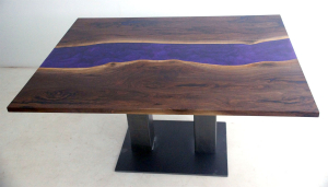 Square Live Edge Dining Table For Sale Online At Chagrin Valley Custom Furniture [With A Purple Epoxy Resin River]